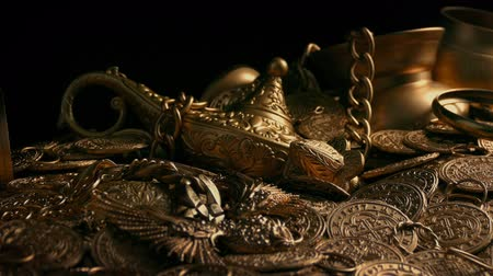 hoard : Passing Gold Treasure Pile Stock Footage