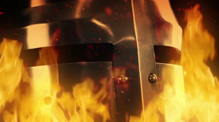 cavaleiro : Knight Helmet In Flames Stock Footage