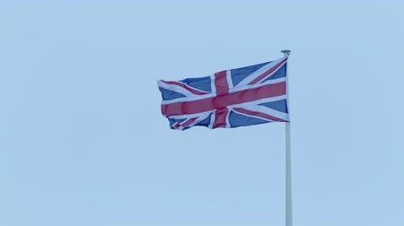 турель : Union Jack Flag In The Wind Стоковые видеозаписи