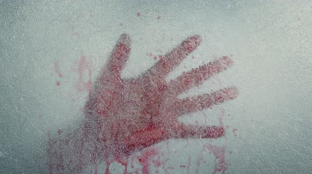 bloody hands : Bloody Hand Frozen In Ice Stock Footage
