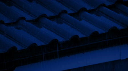 gushing : Roof Gutter In The Rain At Night Stock Footage
