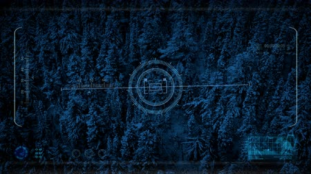 spying : Drone Hud Display Flying Over Snowy Mountainside Stock Footage