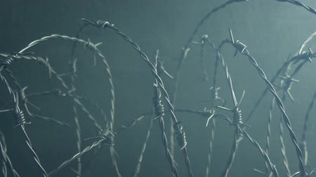 lots of : Passing Barbed Wire And Smoke By Wall Stock Footage