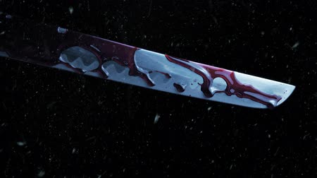 мифический : Samurai Sword Drips Blood In Snowfall