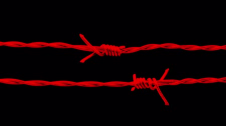 perimeter : Passing Red Barbed Wire Abstract