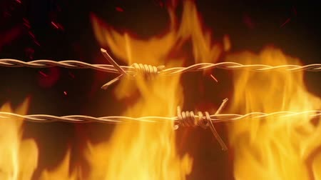 бункер : Passing Barbed Wire In Fire Стоковые видеозаписи