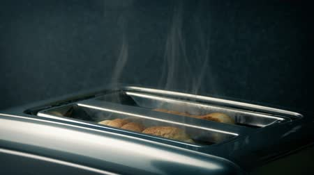 charred : Burning Toast In Toaster Stock Footage