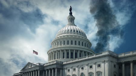 театральный : Smoking US Capitol Building - War, Terrorism Concept Стоковые видеозаписи