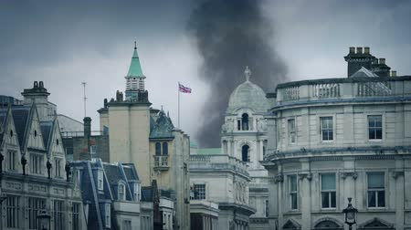 sky bomb : Smokes Rising Over London Skyline
