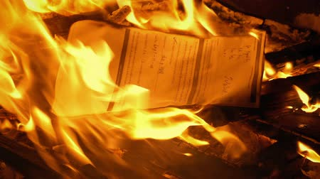 correspondência : Document With Writing Put On Fire - Generic Content Stock Footage