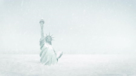 york : Statue Of Liberty Frozen In Ice Age
