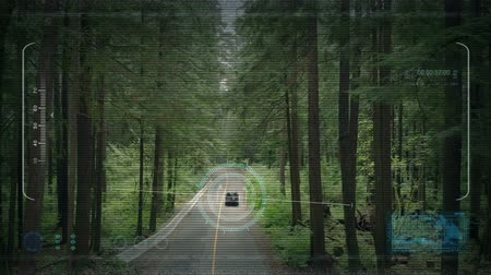 spying : Drone POV Tracking Car On Forest Road Stock Footage