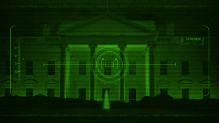 into the camera : Military HUD Scanning White House At Night