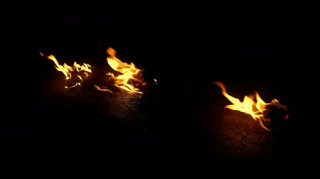 canal : Fire Burns Objects On Ground - Compositing Element Stock Footage