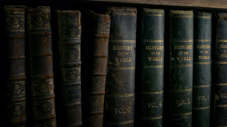 aisles : Passing Old Leather Bound Books On Shelf Stock Footage