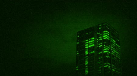 fbi : Office Building Night Vision Stock Footage