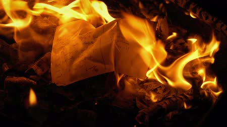 post room : Postcard Put On Fire And Burns - Generic Content Stock Footage