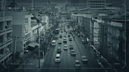 ângulos : CCTV Main Road Through City In Developing Country Stock Footage