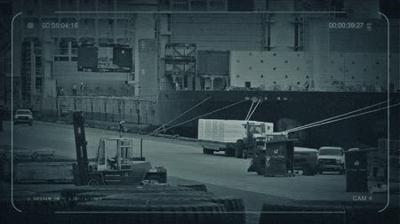 forklift : CCTV Busy Port With Workers Loading Ship Stock Footage