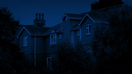 subúrbio : Houses At Night Among Trees Stock Footage