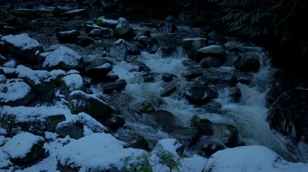snows : Snowy Mountain River In The Evening Stock Footage