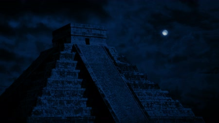aztecs : Mayan Temple With Moon Above Stock Footage