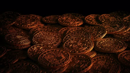 doubloon : Medieval Gold Coins In Candle Light