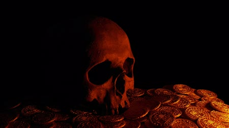 feiticeiro : Skull On Treasure Coins In Candle Light Stock Footage