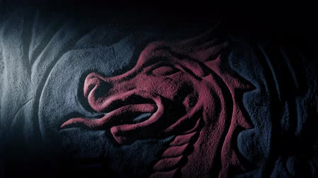 Red Dragon Carving Lit Up In Dusty Tomb