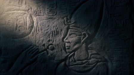 sarcophagus : Pharaoh Stone Carving Revealed In Shaft Of Light