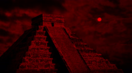 Aztec Temple With Red Sun Above Stok Video