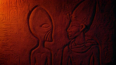 hieroglifa : Alien Egyptian Wall Carving In Dusty Tomb