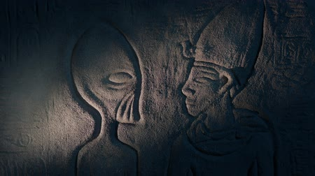hieroglifa : Ancient Aliens Wall Art In Ancient Tomb