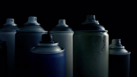Passing Grungy Used Spraypaint Cans Stok Video