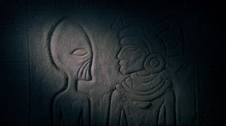 Torch Lights Carving Of Alien In Mayan Temple