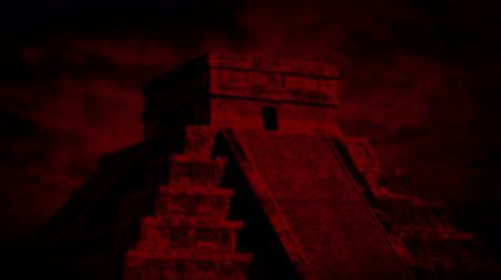 azték : Aztec Temple And Red Sky