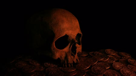 hoard : Skull On Gold Coins In Candlelight