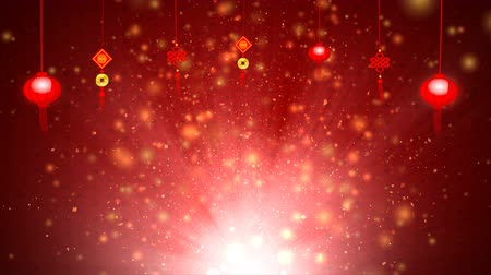 ano novo chinês : 4K Red abstract background with particle for chinese happy new Year Vídeos