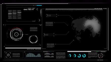 tekno : 4K UI User Interface with HUD pi bar text box table black background for cyber technology and futuristic concept with grain processed