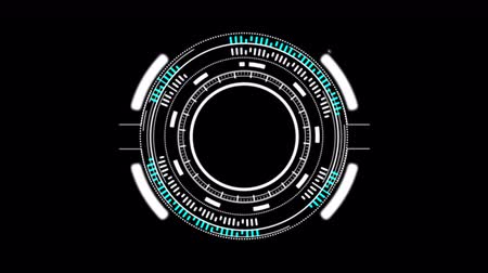 crosshair : Circle hud head up display interface element for futuristic cyber technology concept with dark and grain processed Stock Footage
