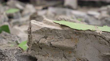 Worker using hammer hit concrete for break it to be small fractal construction concept