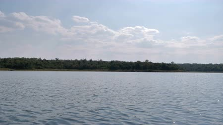 kano : Boat view sailing and moving in the big river with nature tropical forest and mountain