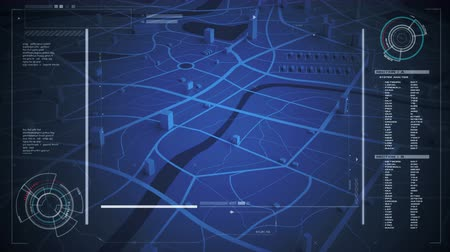 localização : Map gps navigation with hud user interface for technology futuristic concept with dark and grain processed Vídeos
