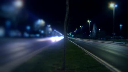 selektif : Timelapse night traffic on boulevard.  Full HD 1080p, 24fps, Selective focus. Stok Video