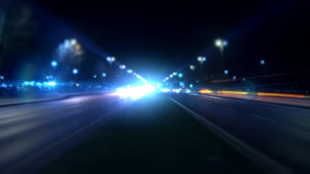 řídit : Timelapse night traffic on boulevard. Full HD 1080p, 24fps, Selective focus.