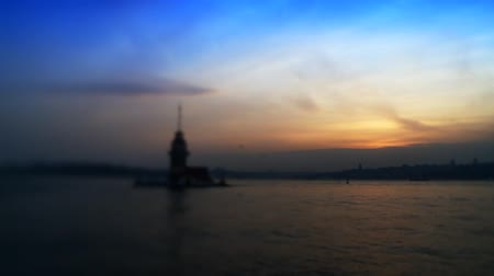 selektif : Maidens Tower in Bosphorus. Full HD 1080p, 24fps, Selective focus.