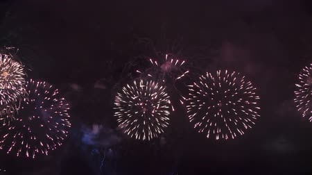 Colorful fireworks display. Full HD, 1080p, 30fps, Selecive focus.