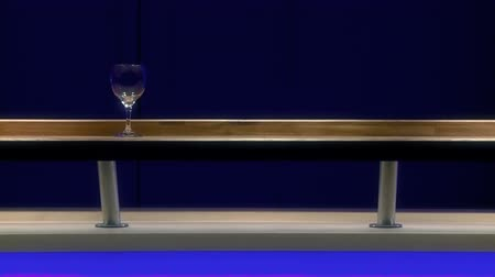 şarap kadehi : Moving glass on wooden bar. Full HD, 1080p, 1920x1080.