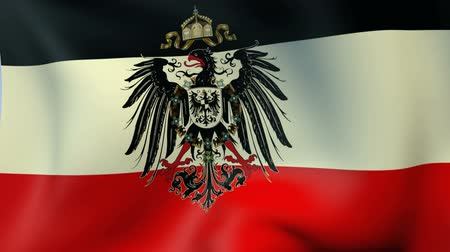 almanca : Historical flag of German Empire 1871-1918 with an eagle Stok Video