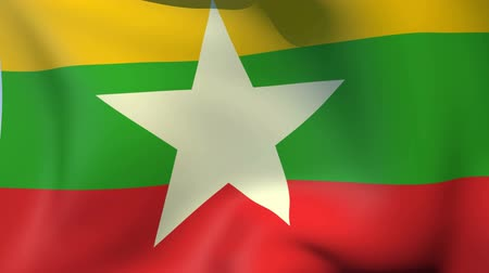 mianmar : Flag of Myanmar Stock mozgókép